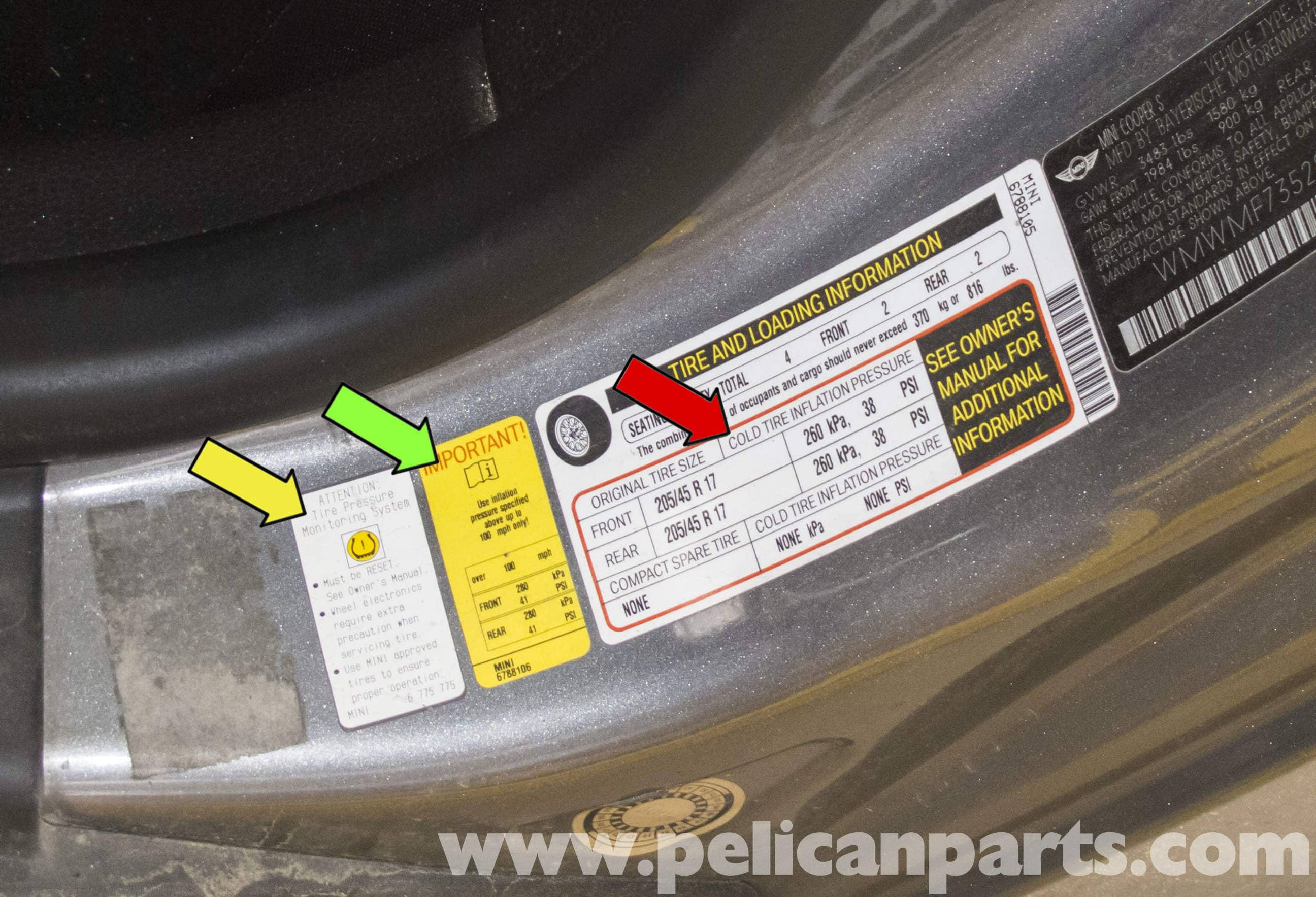 MINI Cooper R56 Tire Pressure Monitoring 20072011  Pelican