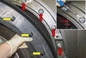 Front trim: When removing, the clips (yellow arrows) will remain in the body (red arrows).