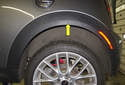 Rear trim: The wheel well arch trim (yellow arrow) is one piece, wrapping around the fender, connecting the rear bumper trim and the lower body trim.