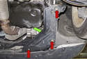 Draining cooling system: For normally aspirated models (Cooper) remove the right side splash shield (green arrow).