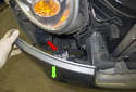 Slide the bumper cover (green arrow) off enough to access the fog light connectors (red arrow).