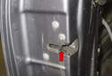 This tech article covers replacing the door latch (red arrow) on a vehicle with comfort access.