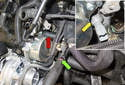 Oil pressure sensor: Start by loosening the oil pressure sensor (yellow arrow).