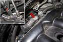 Manifold sensor: Using a 8mm socket, remove the sensor fastener (red arrows).