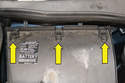 Undo the three clips connecting the housing and remove the housing fro the engine bay.