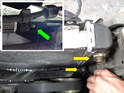 Remove the automatic transmission lines from the passenger side of the radiator (yellow arrows).