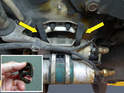 It is a good idea to replace the rubber hangers (yellow arrows) that hold the fuel assembly when you are replacing the pumps.