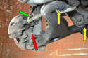 This photo illustrates where the control arm pivots from (yellow arrows).