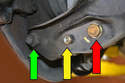 These are the three nuts and bolts you will need to remove in order to perform this job: control arm to wheel carrier (green arrow), drop link (yellow arrow) and shock (red arrow).