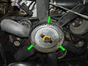Remove the three 5mm Allen head screws holding the fan to the fan clutch assembly.