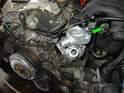 Now fit the new water pump to the engine as shown here using new fasteners.