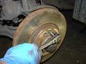 The brake disc is secured to the wheel hub with a countersunk 5mm hex bolt.