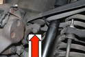 The upper control arm is fixed to the frame as well as the steering knuckle (red arrow).