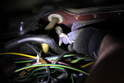 Once the glove box is out, you will see the A/c sensor on the left hand side of the glove box cavity.