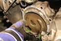 After the water pump has been removed, check the case for any signs of rust.