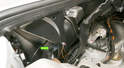 Remove the inner fender bolts (green arrow) that is located on each side.