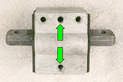 The SLK's cross member aligns with the mount's center holes (green arrows).