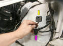 The turn signal harness (yellow arrow) is long enough to extend through the body while still attached to the light.