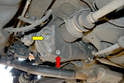 Begin by first removing the fill plug on the differential (yellow arrow), you always want to remove the fill plug first and it is a lot easier to do it while the rear plate is still securely fastened to the housing.