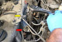 Use the 17mm Crawfoot to loosen the fittings on the top off the lines to the injectors (red arrow).