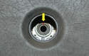 This is the area you need to mark; the relation between the steering shaft and wheel (yellow arrow).