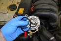 When you are ready to re-fill the vehicle with coolant install the thermostat.