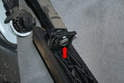 Rotate the pedal around the rod until the tear drop shaped end of the rod slips out from the pedal (red arrow).