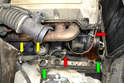 Heater Valves- There is a rubber line that connects the metal line from the coolant pump to the metal line along the frame.