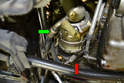 Compressor- Use a 13mm socket and remove all four bolts (red arrow, one shown).