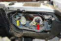 Bulb Replacement- With the panel removed you can change both the headlight (red arrow) and fog light (yellow arrow) bulbs.
