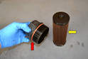 Separate the filter cartridge (yellow arrow) from the cap.