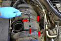 Use a 5mm Allen and remove the four Allen bolts holding the resonance valve to the intake manifold (red arrows).
