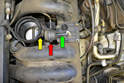 There is not a lot of room between the throttle body tube (yellow arrow) and the resonance valve (red arrow).