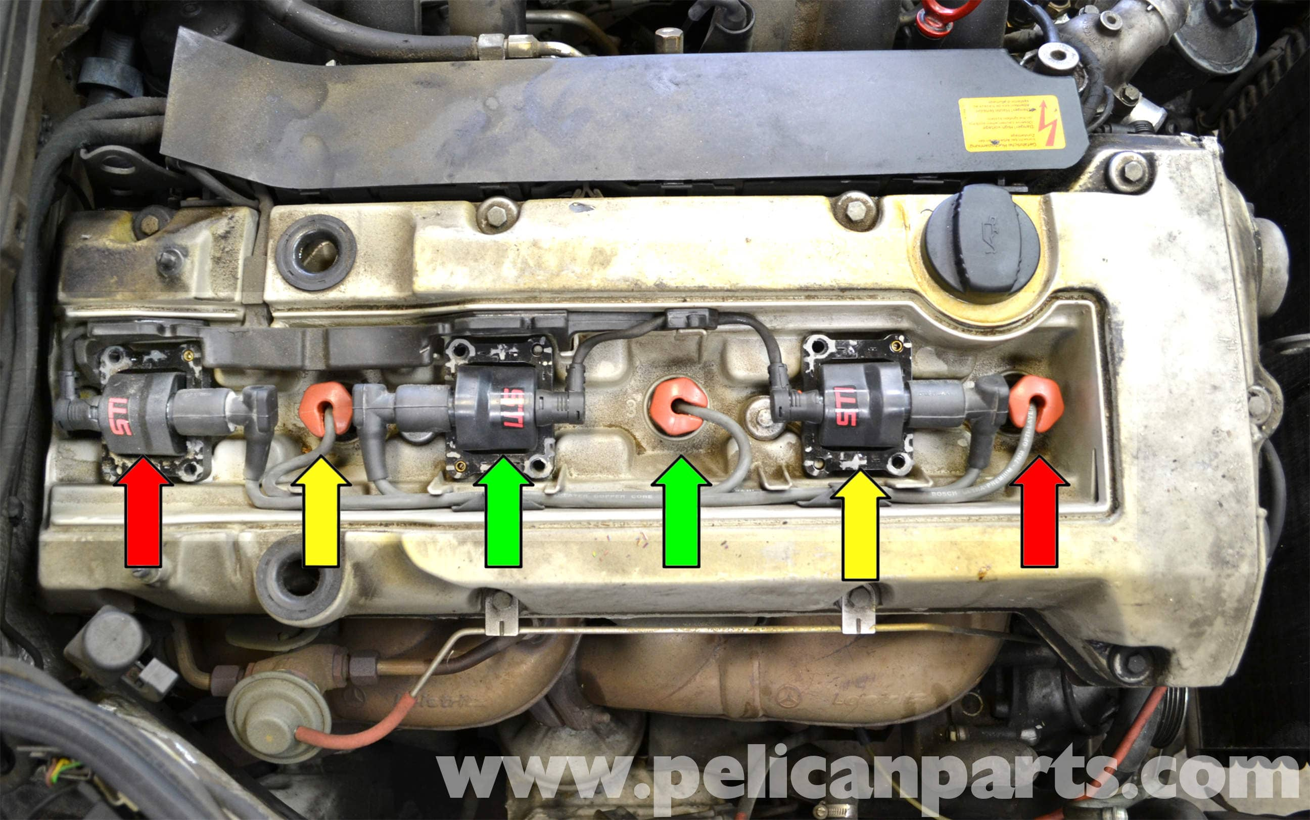 Mercedes benz w124 spark plug wires and coil replacement for Mercedes benz spark plug wires