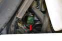 If your hands are small enough you can reach down in the area between the hood and cowl and remove the fuel pump relay (red arrow).