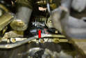 Below Method- The front sensor (red arrow) can be accessed by reaching up just in front of the left engine mount.