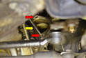 With the starter out check the mounting flange for dirt, debris and damage (red arrows).