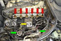 Make sure to stuff clean rags into the opening on the head (red arrows), the throttle body (yellow arrow) and the lower manifold (green arrows).
