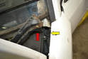 Wiper Assembly-At the end of both trim pieces by the A-pillar there is a drain spout (red arrow) that sits in a drain tube (yellow arrow).