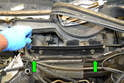 Wiper Assembly- After removing the vent trim piece from the right side you will need to remove the two Philips head screws from the larger trim piece (green arrows).