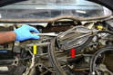 Wiper Assembly- Remove the mount (yellow arrow) and assembly (red arrow) from the vehicle along with the gasket.