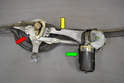 Wiper Assembly- This photo illustrates the mount (yellow arrow), the trim and gaskets (red arrow) and the motor (green arrow).