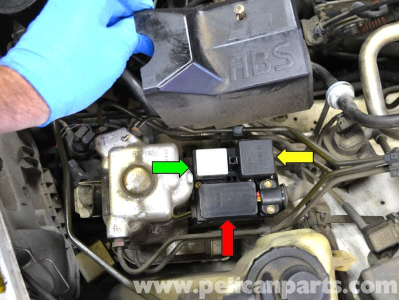 mercedes benz w124 abs relay and pump replacement 1986 1995 e remove the cover and you have easy access to the wiring harness connection red arrow
