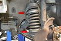 Place the upper disk as high as you can get it in the springs and the lower one as low as it will go (red arrows).