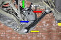This illustrates where the multi links attach to the hub or carrier: Camber link (green arrow), Pull link (red arrow), Tie link (blue arrow) and the Push link (yellow arrow).