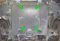 This photo illustrates the underside of your engine compartment.