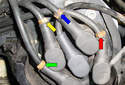 This Picture illustrates a close up view both the left side cylinder bank distributor cap.