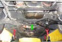 This photo illustrates the underside of the front of the vehicle.