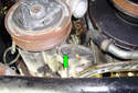 This Picture illustrates the front of the air pump looking at it from underneath the car.