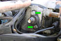 Use your 5mm Allen head socket or wrench to remove the two mounting fasteners (green arrows).